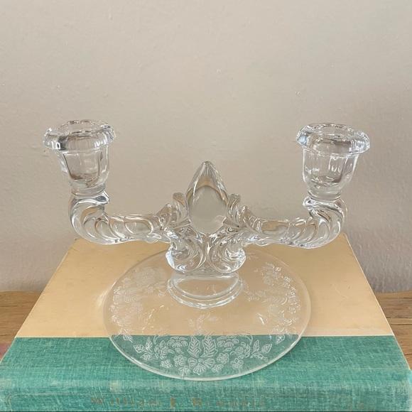 Vintage Cambridge Rose etched crystal candleholder